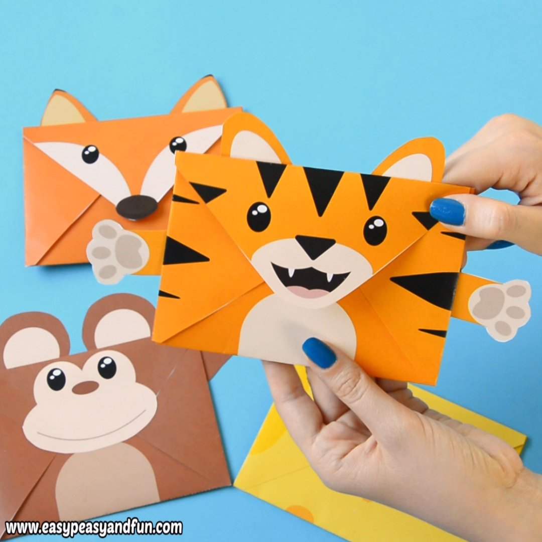 fun printable animal envelopes such a cool craft for kids to make rh pinterest com