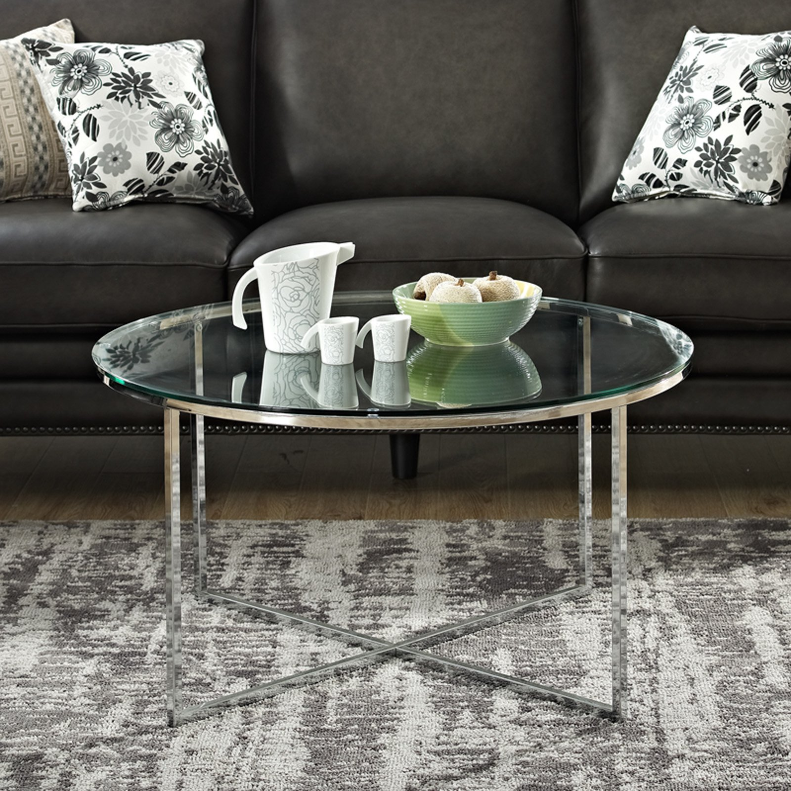 Manor Park 36 In Coffee Table With X Base And Glass Top Round