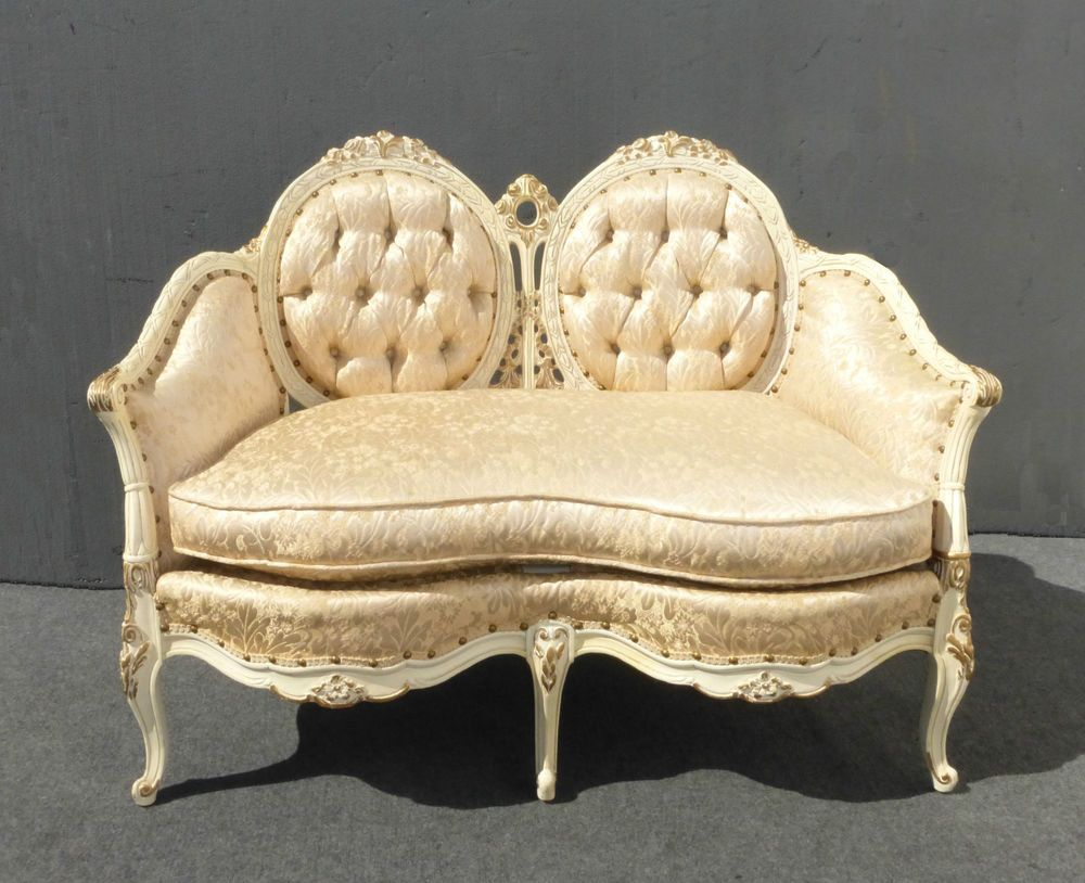 Custom vintage french provincial ornate louis xv tufted for French rococo furniture
