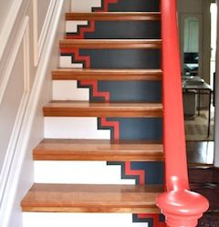 Great Idea To Create Interest In Staircase. Banister Adds Pop Of Color With  Interior Of