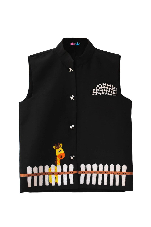 Black Nehru Jacket With a Giraffe Embroidery Nehru