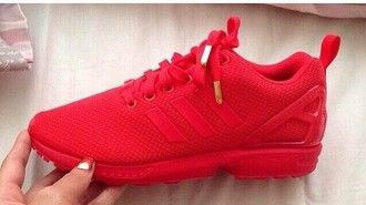 pretty nice 1cce0 7bc67 shoes trainers sneakers mono red adidas flux gold tips