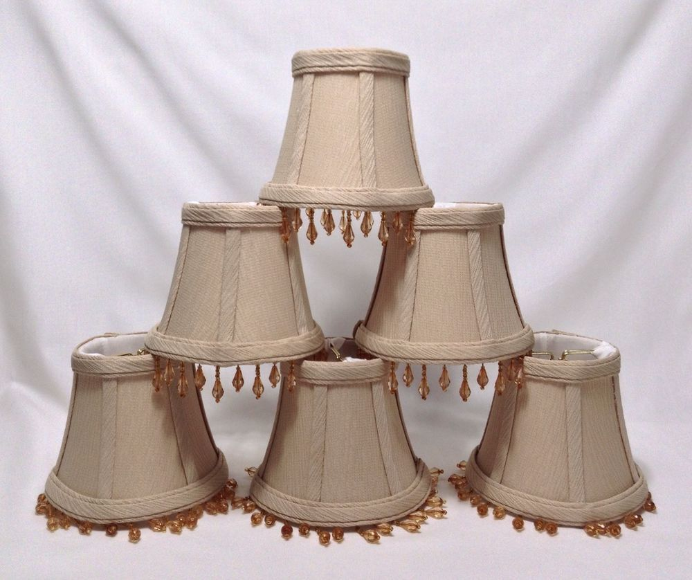 Mini Lamp Shades Chandelier Clip Beige Tan Fabric Amber Beads Dangle Set Of  6 #unknown