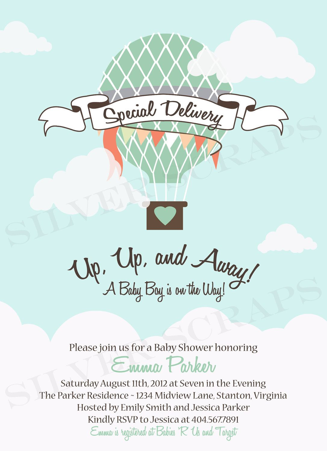 Blue Skies  Custom Digital Hot Air Balloon Baby Shower Invitation  Girl,  Boy, Twins, Surprise   Red, Blue, Aqua, Yellow  5 Printable Designs