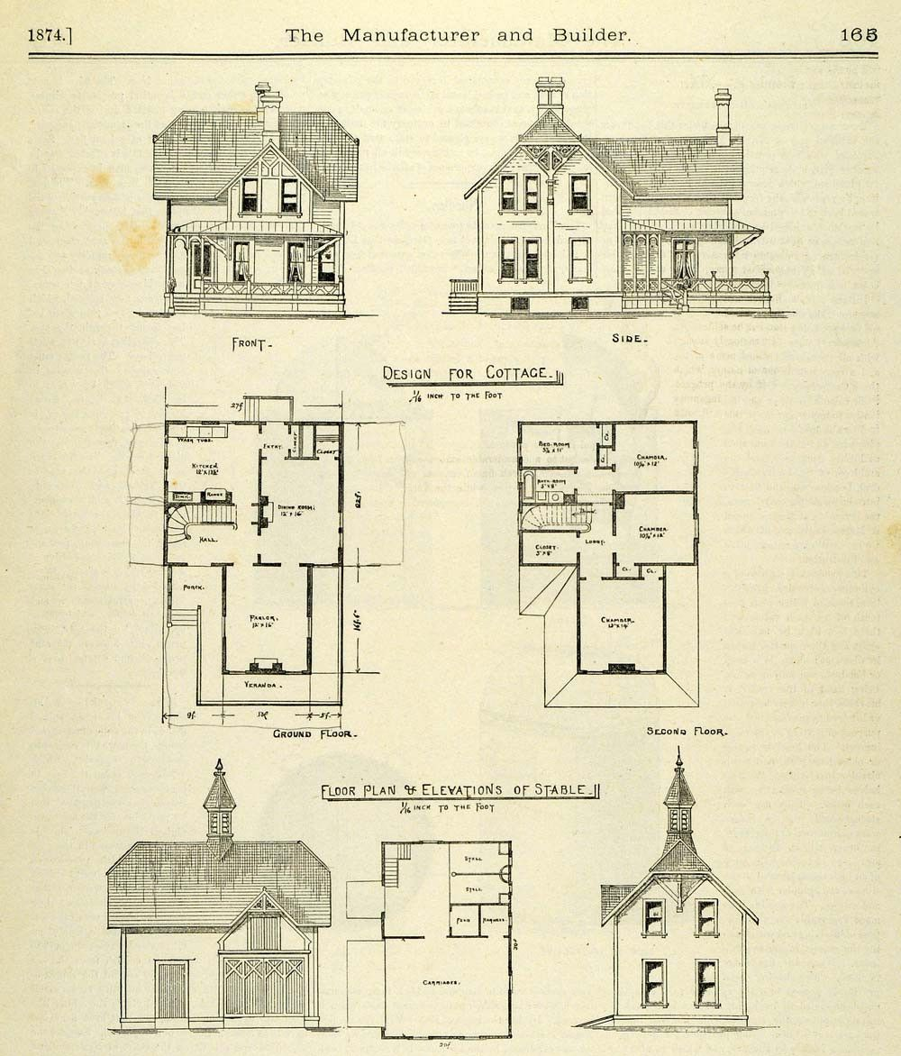 1874 Print Cottage Stable Victorian Architecture Floor Plan Front Side Floor Plans How To Plan Victorian Architecture