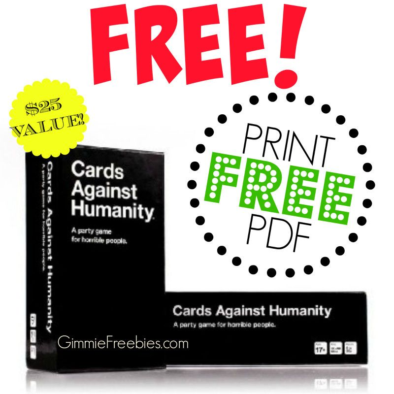 Free Cards Against Humanity Card Game 25 Value Cards Against Humanity Pdf Cards Against Humanity Printable Humanity Card Game