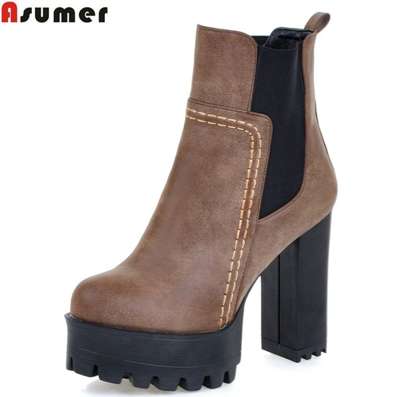 a6614558846c7 Asumer new arrive 2018 winter warm restoring ankle boots high quality pu  nubuck leather thick high heels round toe women boots