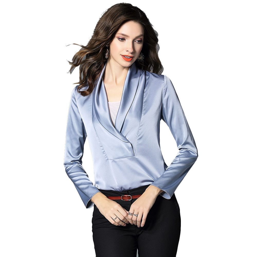 15f3ce7db915e Women Blouse Satin Silk Office Shirt Long Sleeve V Neck Blouses ...