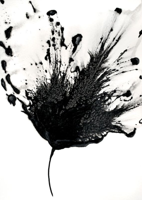 Black white art abstract flower painting 5x7 by galleryzooart