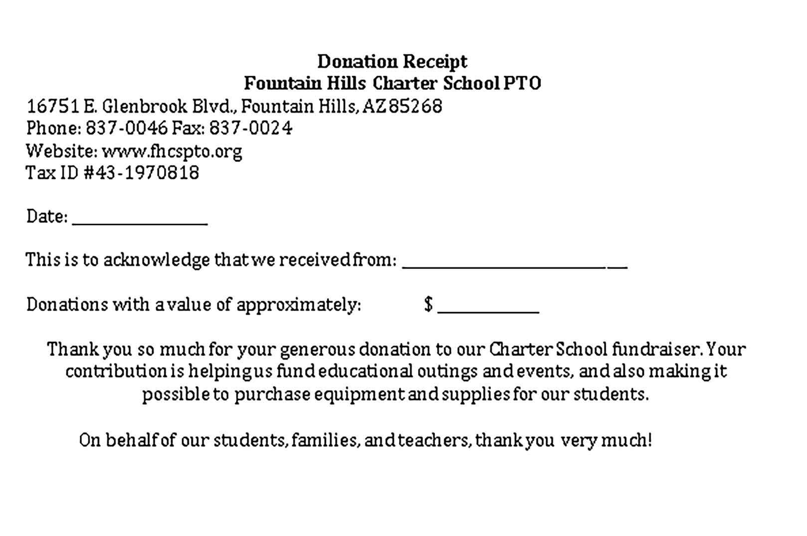 Sample Fundraiser Receipt Template Receipt Template Fundraising School Fundraisers