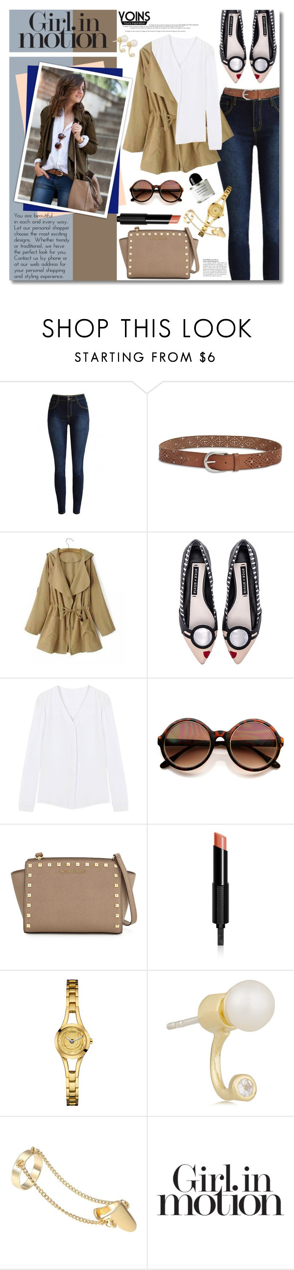 """""""Classic Skinnies Combo"""" by gorgeautiful ❤ liked on Polyvore featuring Lucky Brand, Alice + Olivia, MICHAEL Michael Kors, Givenchy, GUESS, Pamela Love, Victoria's Secret, Byredo, yoins and yoinscollection"""