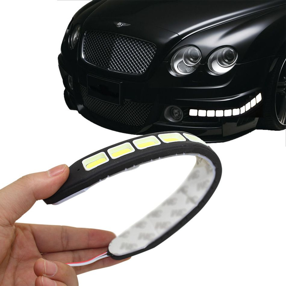 2 pz Piazza 21 cm Flessibile Led Daytime Running Light 100% Impermeabile COB Luci Diurne LED Flessibile Per Auto DRL di Guida Lampada G