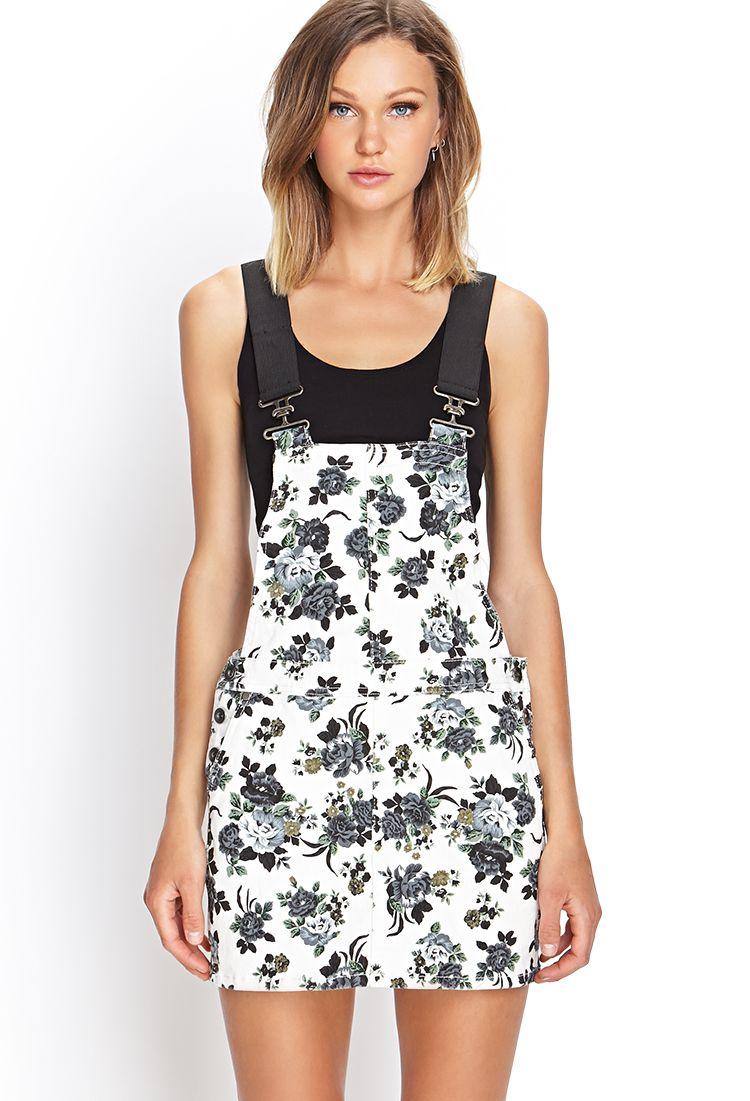 d5a354883ba9 Floral Denim Overall Dress