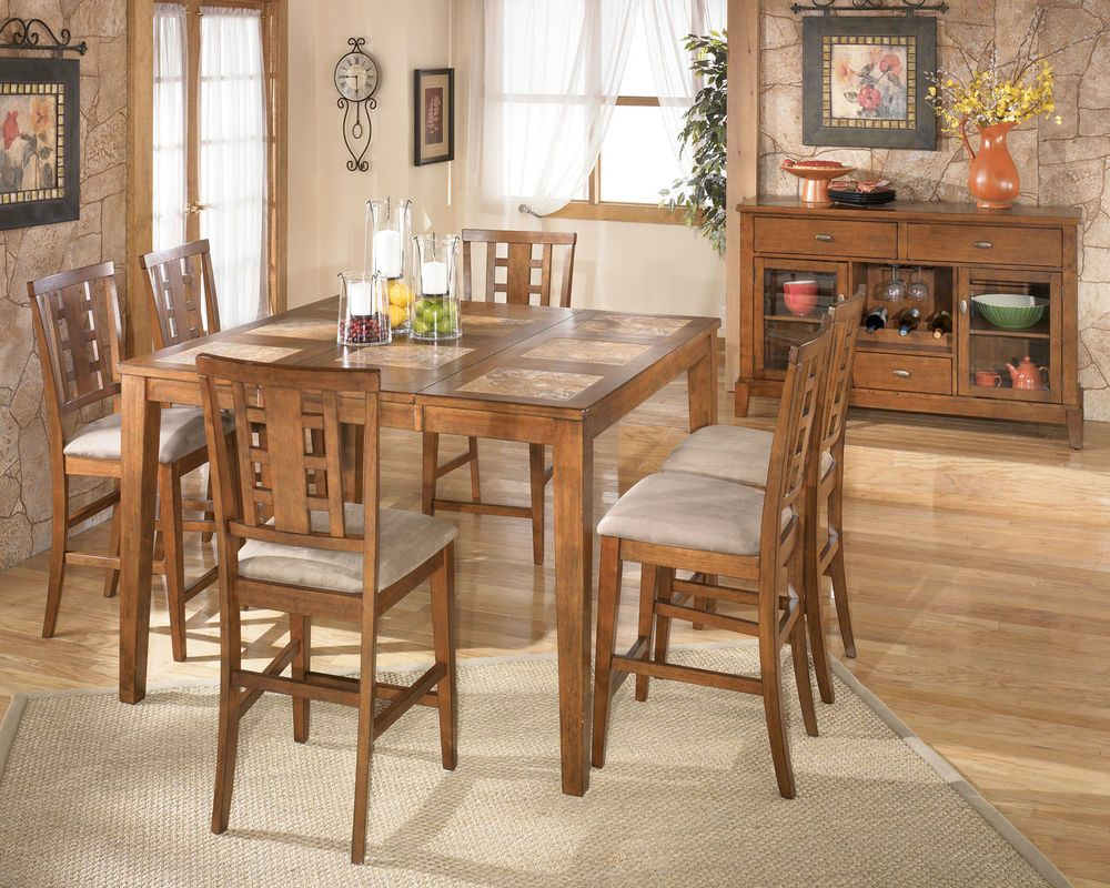 Alpine 7pcs Cottage Square Counter Height Dining Room