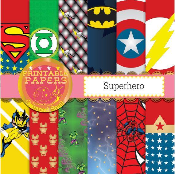 superhero digital paper 12 superheros plus a free word paper kapow