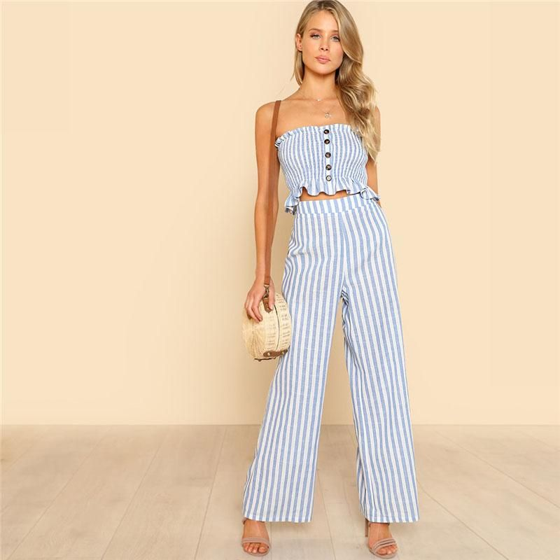White Chiffon Front Silt Casual Style Backless Halter Top: Blue Ruffle Strapless Top & Pants 2 Pieces Set