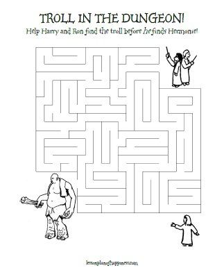 Harry Potter Worksheet Troll In The Dungeon Maze