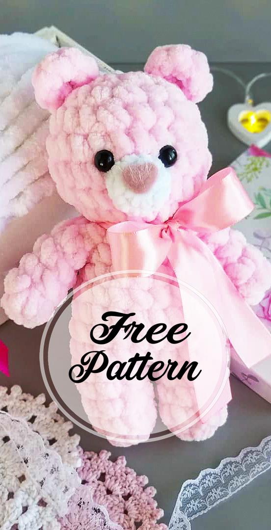 Free Pink Colored Plush Bear Amigurumi Pattern - A
