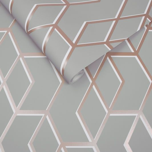 Archetype Grey Rose Gold Wallpaper Graham Brown Uk For The