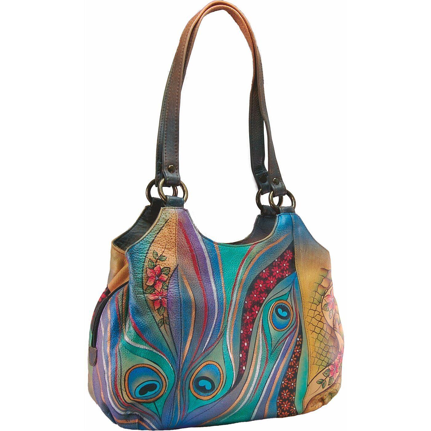 ANUSCHKA hand painted leather shoulder bag Amazon.co.uk