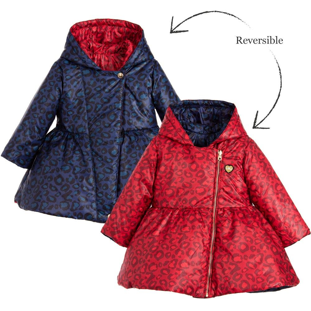 cf7af5f958aa Little Marc Jacobs Baby Girls Red Reversible Padded Coat with Hood at  Childrensalon.com