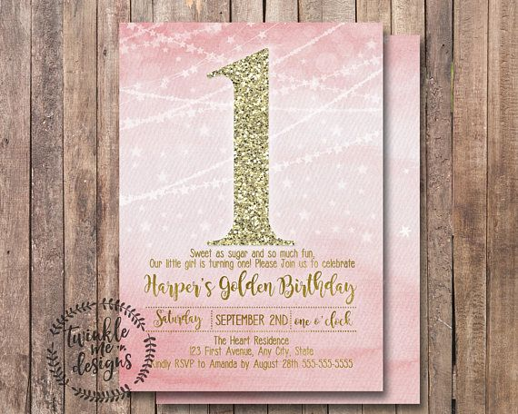 Pink and gold birthday party pink and gold birthday invitations