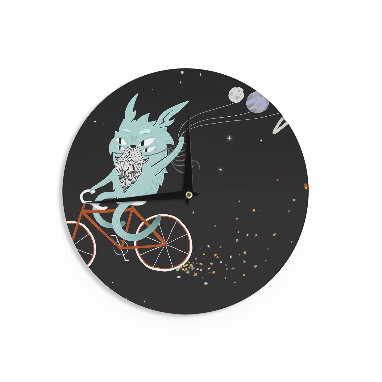 Kess InHouse Anya Volk 'Bunny In Space' Red Fantasy Wall Clock