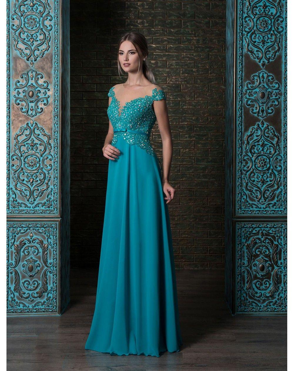 28cc93f45e1d Hravé pohodlné dlhé večerné šaty s čipkovaným zvrškom zdobené opaskom.  Empírový strih zaručí zoštíhľujúci alebo