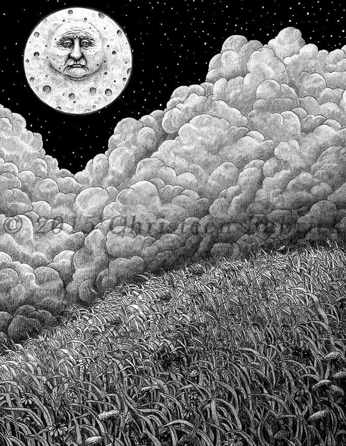 The Old Moon Celestial Clouds Stars Night Sky Pencil Graphite Fantasy Art Giclee Print by cgbartwork on Etsy