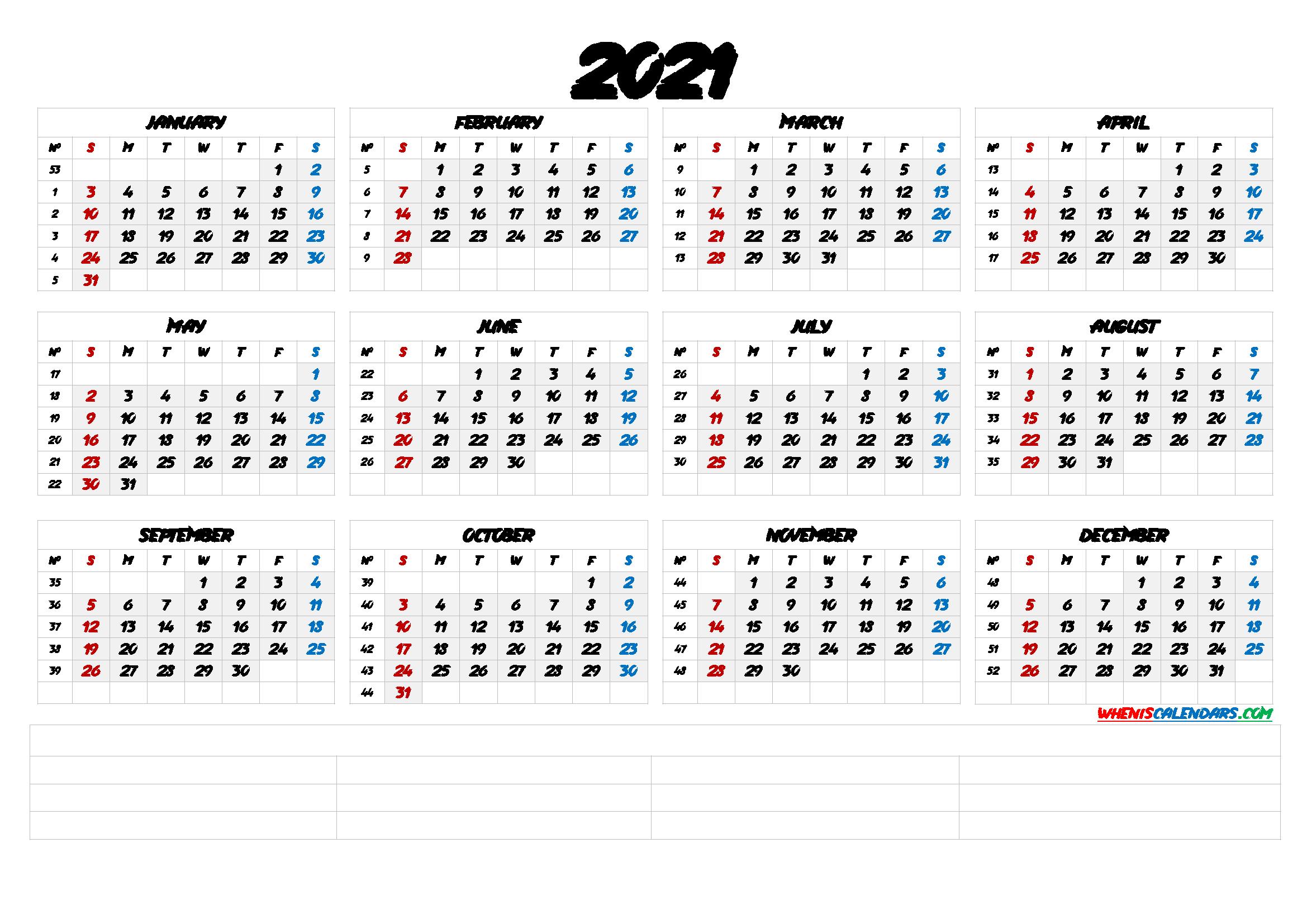 20+ Calendar 2021 By Week Number - Free Download Printable ...