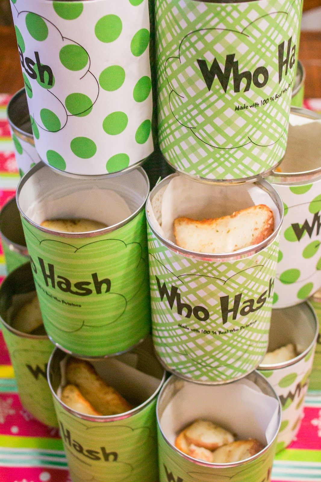 Grinch Christmas Party Ideas Part - 31: Who Hash : How The Grinch Stole Christmas / Cindy Lou-Who Inspired Birthday  Party Or Christmas Party. Perfect For A Whobilation. Who Hash Potato Can  Idea.