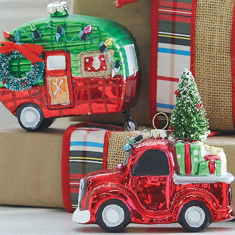 Raz 4 Red And Green Camper Or Truck Glass Christmas Ornament 3716263 Christmas Ornaments Camper Ornament Christmas Red Truck