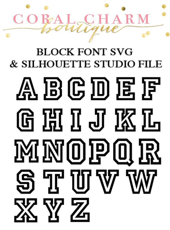 Varsity Block Font Files for Cutting Machines SVG and Silhouette