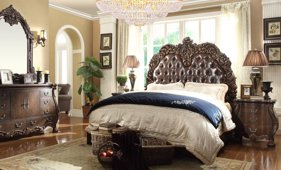 Bedroom Sets Traditional Style 5 pc queen mary renaissance style king bedroom set with tufted