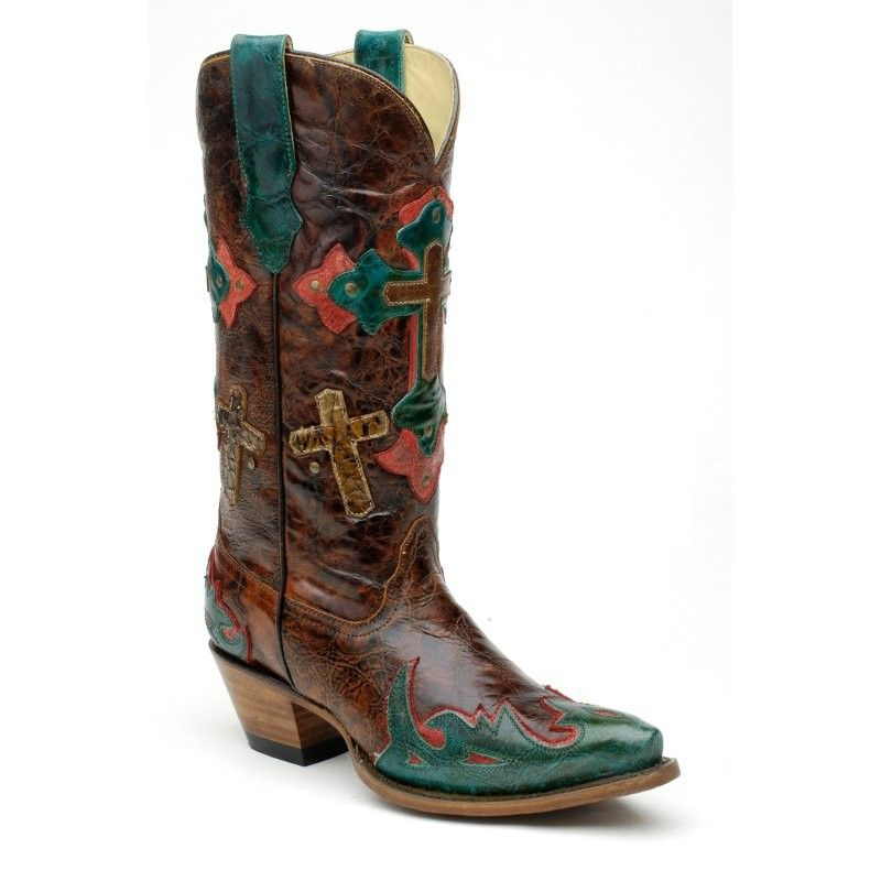 Corral Ladies Chesnut Marble 3 Cross OverlayBoots