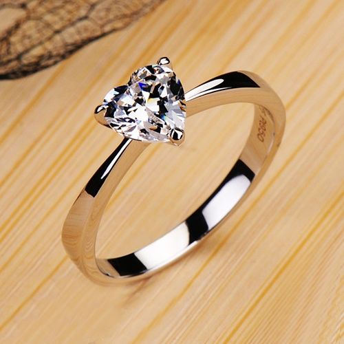 I found 'Vancaro Women's Fashion Rings Romantic 0.6 CT Heart Cubic Zirconia 950 Sterling Silver Plated White Gold Ring' on Wish, check it out!