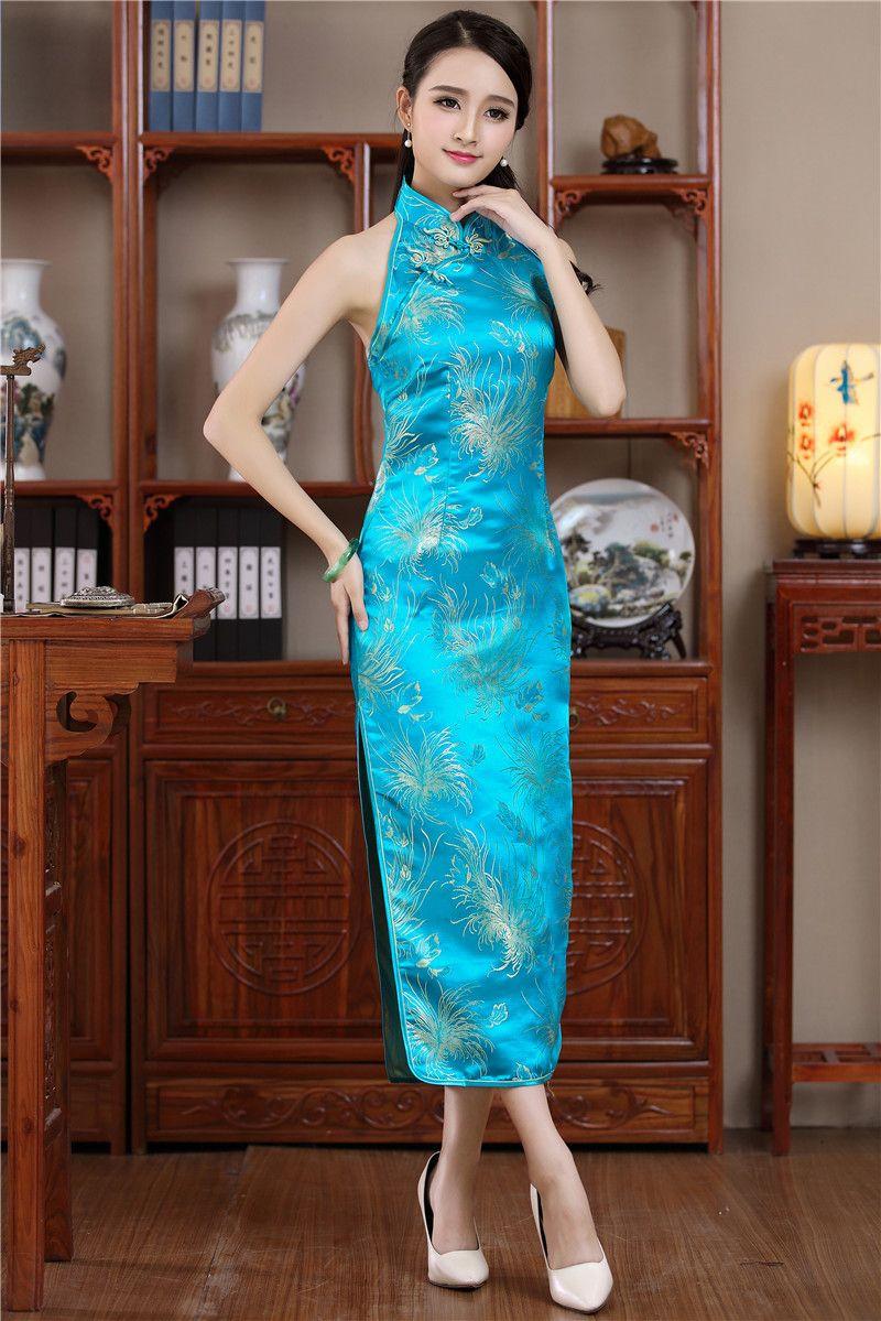 2019 的New-Sexy-Backless-Women-s-Long-Qipao-Satin-Dress-Chinese ... 9de0f3dfe1d6
