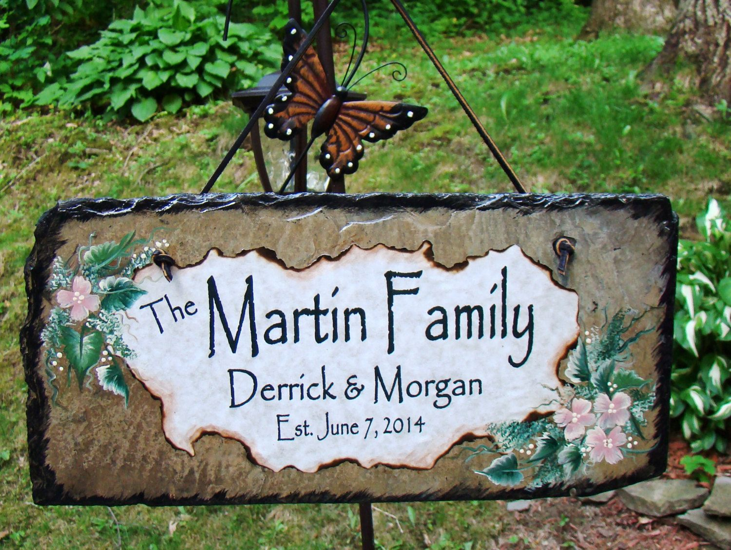 Custom rustic slate personalized family name names date sign for