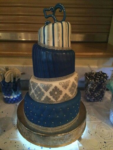 Royal Blue Silver Tiered cake 50th Birthday cake Sweet Dreams