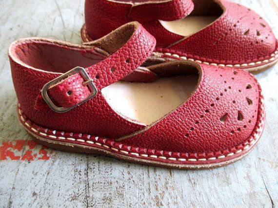 FRENCH VINTAGE 50's / kids / shoes / leather / made in France / newdeastock  / size EU 20/22/23/24. Leather Baby ...