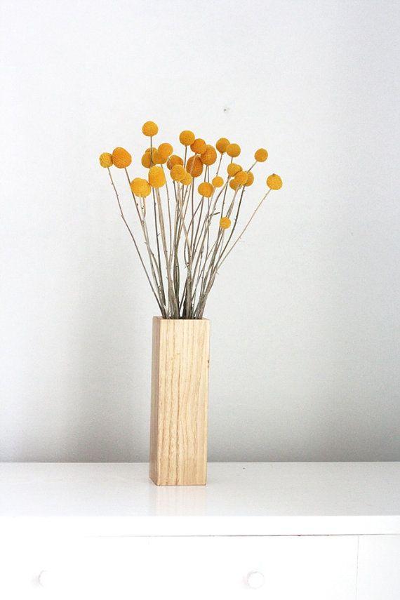 Centerpiece Idea Partial Craspedia In Blonde Wood Vase Billy Buttons Fall Decor Flower Centerpieces