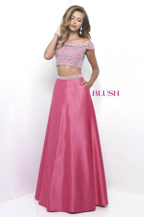 Size 6 Melon Blush 11211 Off the Shoulder 2pc Prom Dress | In-Store ...