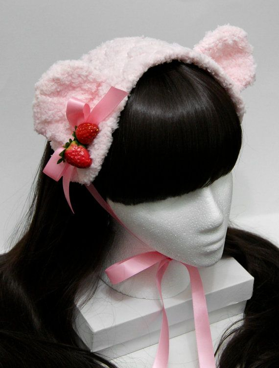 Sweet Pink Strawberry Ice Cream Bear Gothic and Lolita Bonnet Headdress. $45.00, via Etsy.