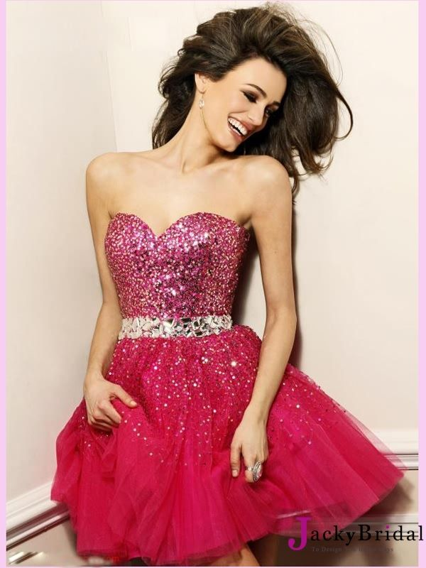 2013 Homecoming Dresses Short with Red Crystals