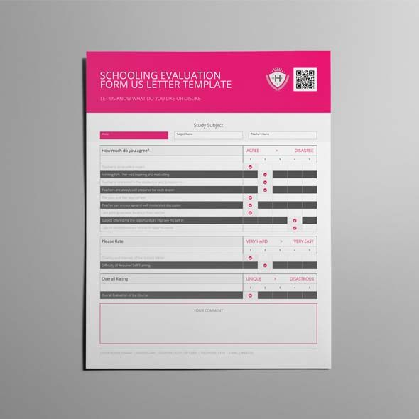 Schooling Evaluation Form US Letter Template CMYK \ Print Ready - evaluation template