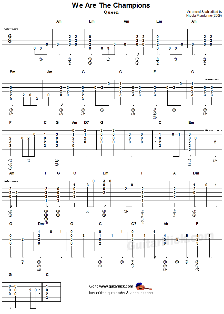 We Are The Champions Queen Easy Acoustic Guitar Tab Play Yer