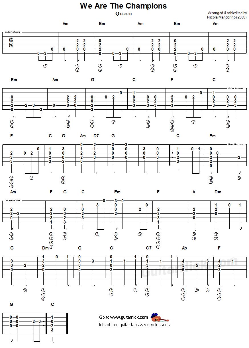 Guitar tabs queen