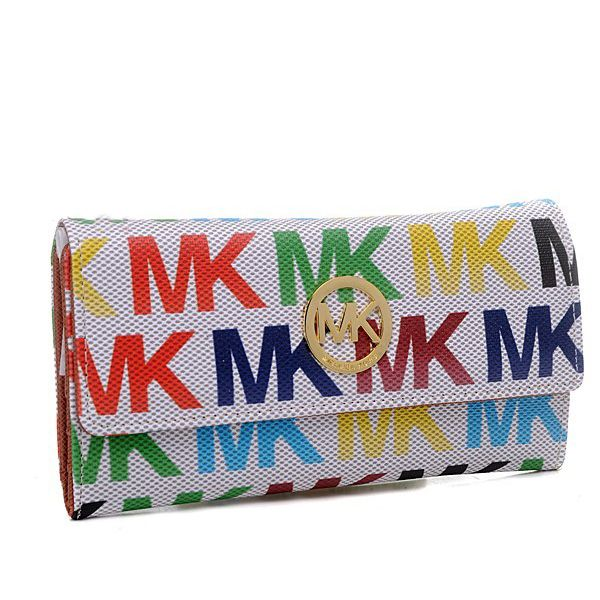 michael kors envelope logo large white multicolor wallet