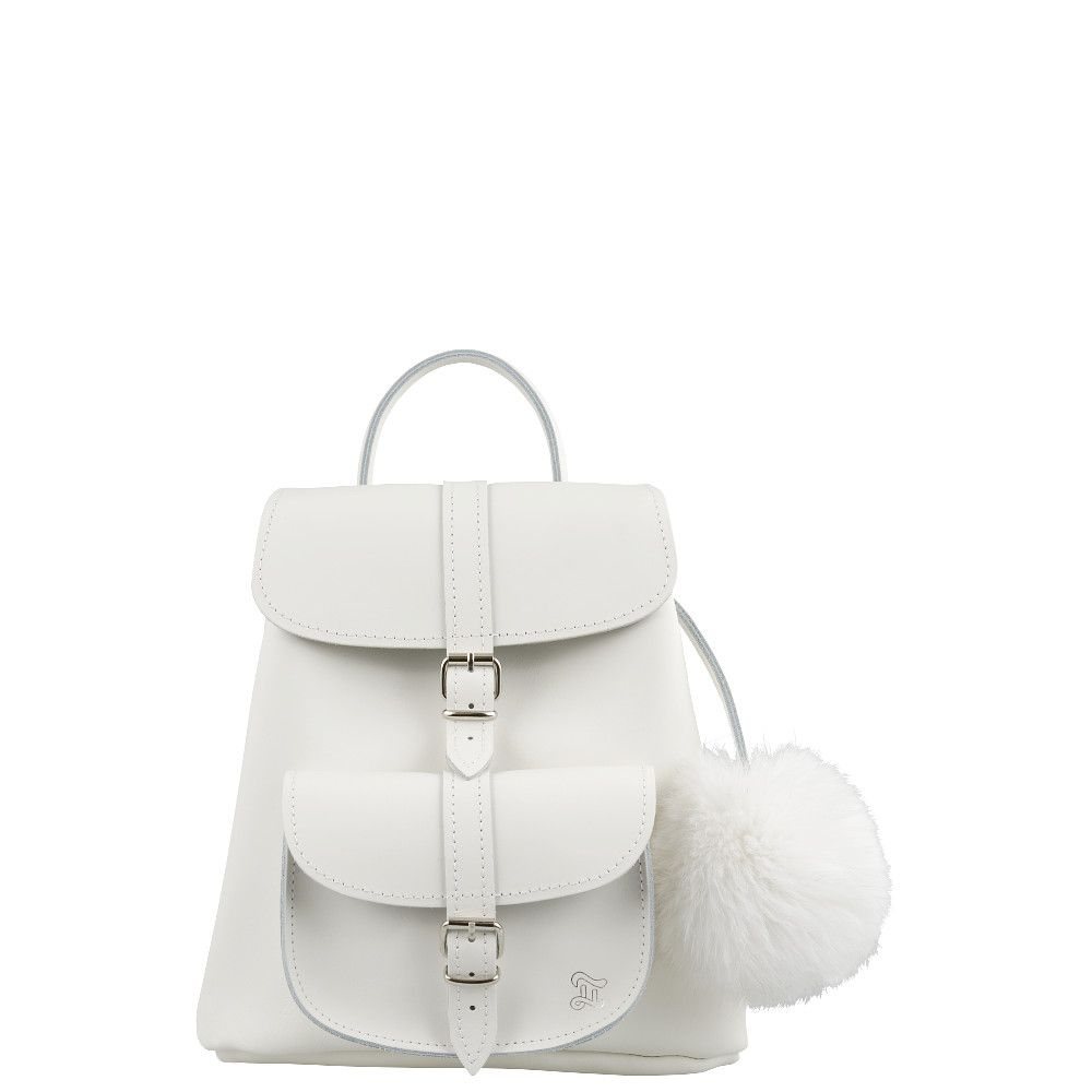 SNOWBALL White leather Backpack with Pom Pom