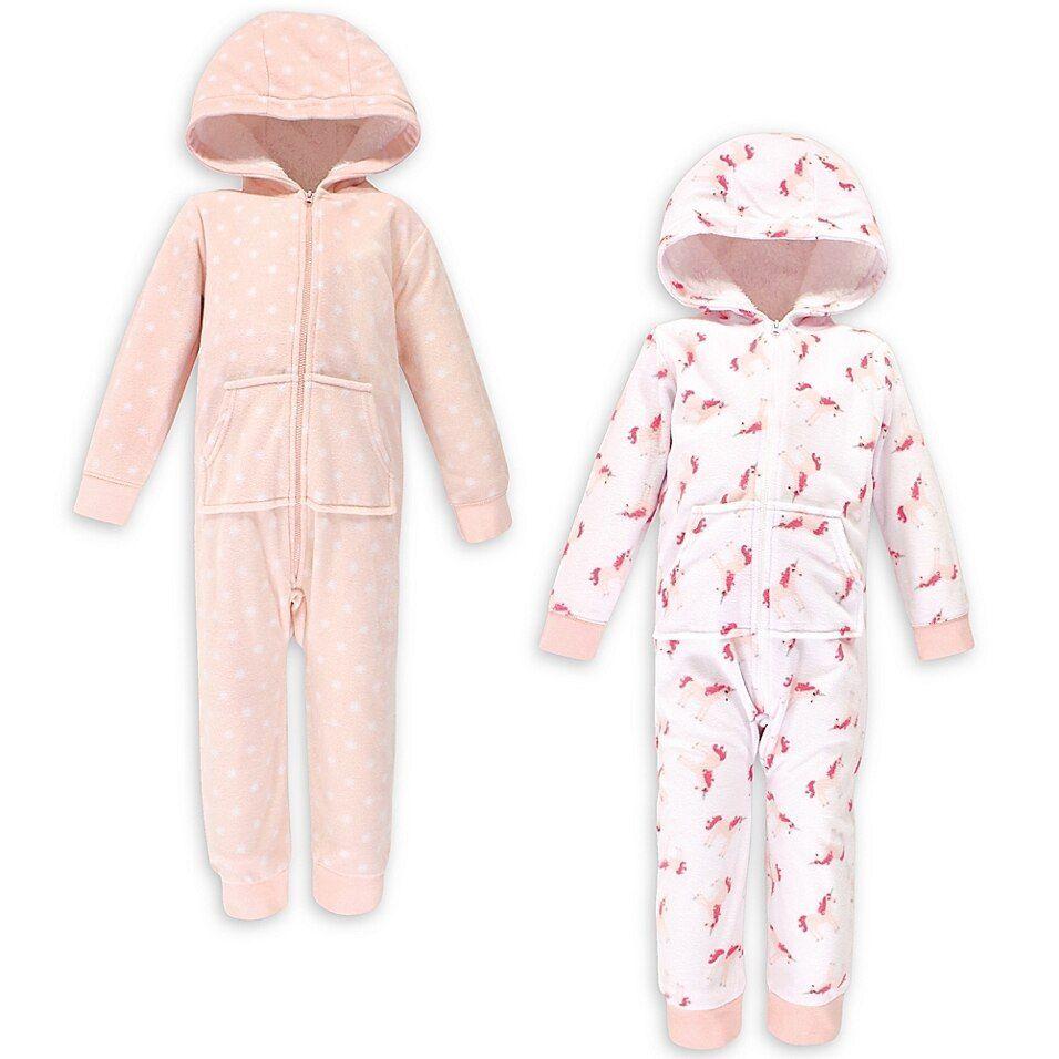 Hudson Baby Girl Fleece Sleep N Play 2-Pack Pink Cloud